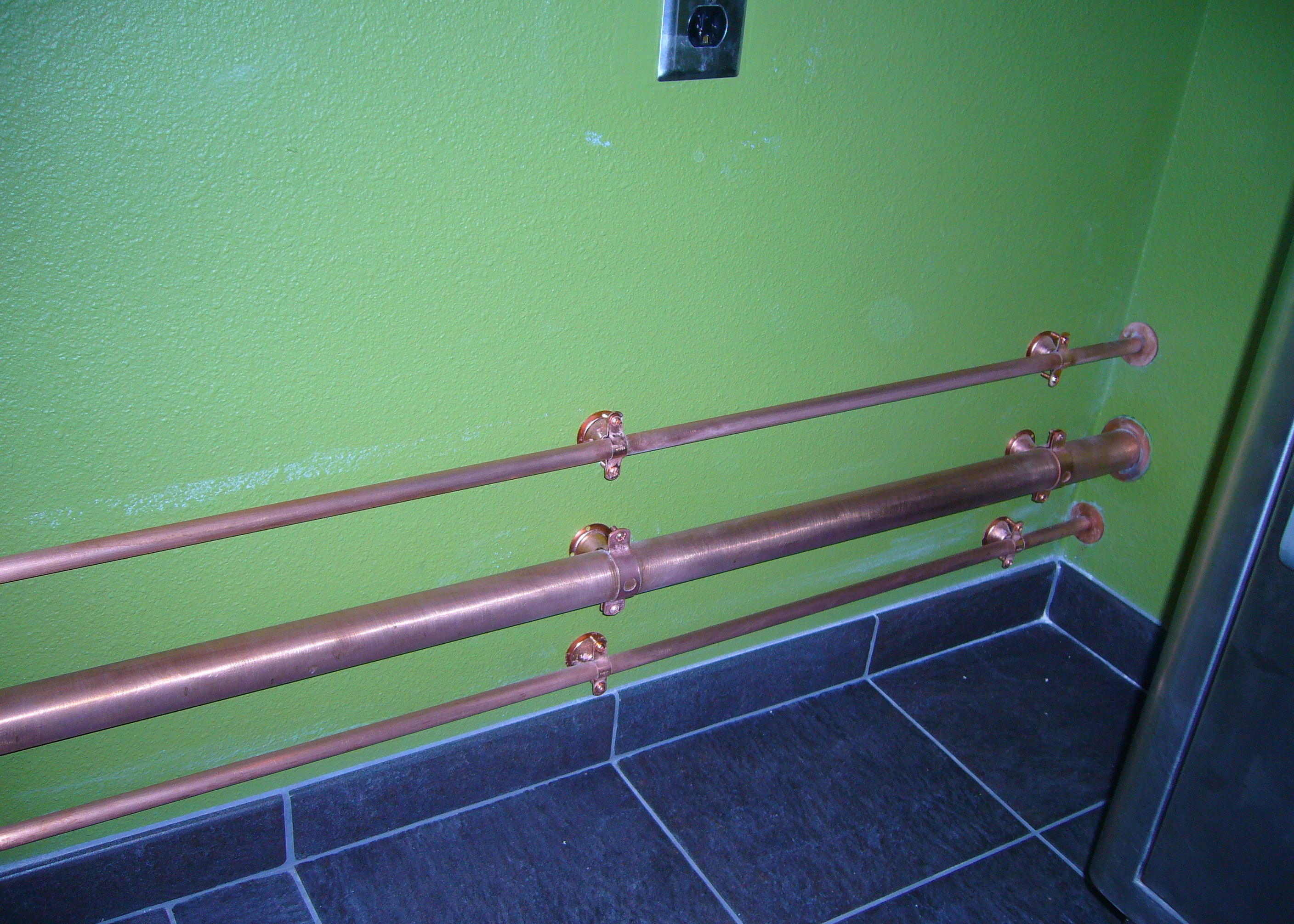 Industrial bathroom remodel favinger plumbing for Running copper water lines